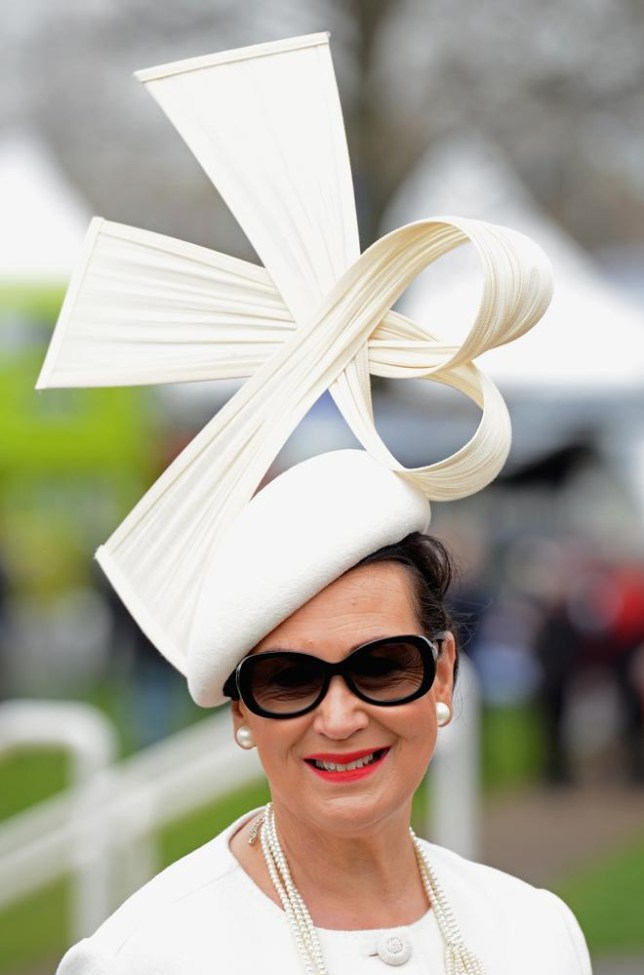 A striking origami hat at Aintree Ladies Day today (Picture: Richard Martin-Roberts/Getty Images)