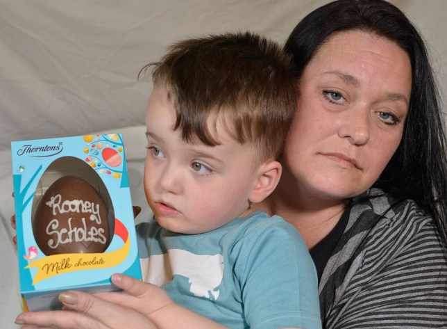 Joanne Scholes left outraged after Thortons staff refused to put her three year olds sons Rooney,s name on a easter eggn because of copyright issues nThey had to put his full name on Rooney Sholes instead nPhoto by Gary Louth, 29/03/2014