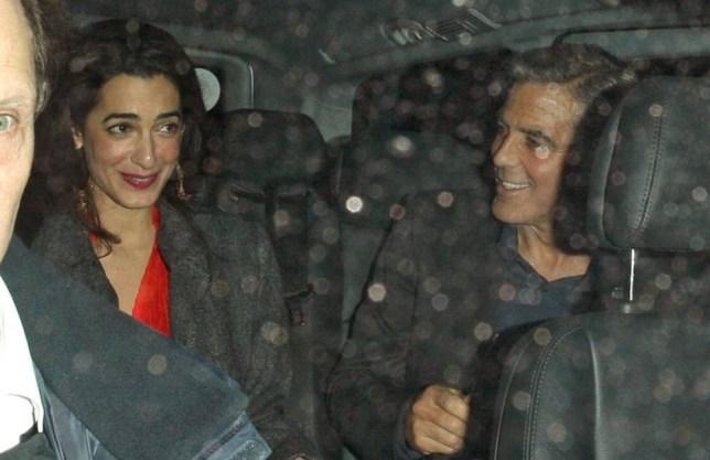 George Clooney and Amal Alamuddin.. George Clooney out and about, London, Britain - George Clooney leaving Berners Tavern with Amal Alamuddin..