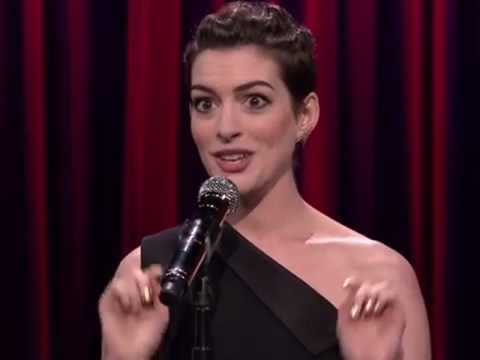 You need to watch this video of Anne Hathaway taking on rap classics immediately