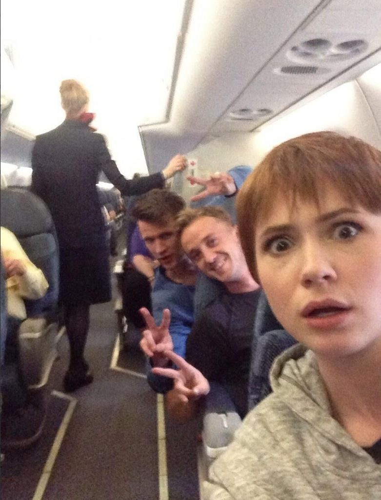 Matt Smith, Karen Gillan and Tom Felton have some mile-high fun together (and take selfies to prove it)