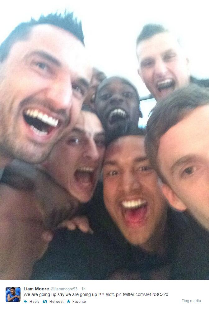 Leicester City celebrate promotion to the Premier League with team selfie