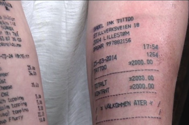 66b54f376 Teenager who got McDonald's receipt inked on his arm gets another tattoo  that's just as silly