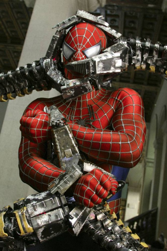 FILMS... Spider-Man 2 (2004); Spider-Man, played by Tobey Maguire, in the grip of Dr. Octopus, played by Alfred Molina, in a scene from the film.
