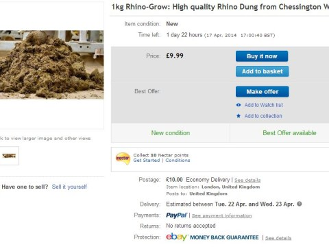 Chessington World of Adventures 'sells miracle rhino manure on eBay'