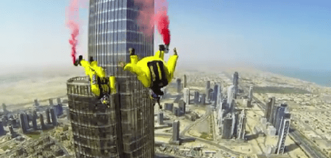 Incredible video of daredevil duo jumping from world's tallest building