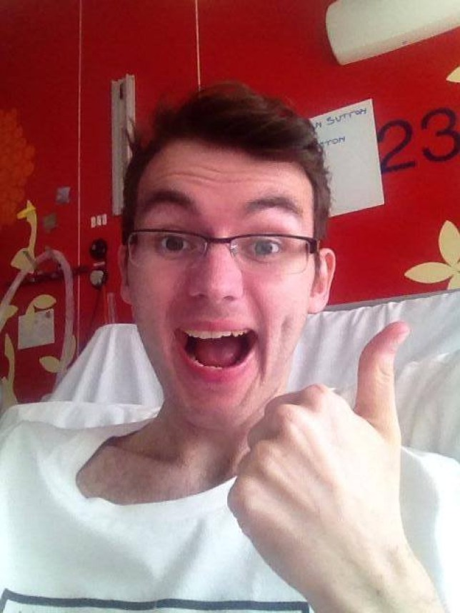 Thumbs up: Stephen's health has taken a turn for the better after he 'coughed up a tumour' (Picture: Facebook)