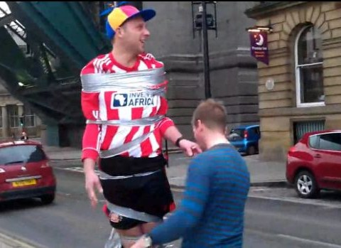 Stag gaffer-taped halfway up Newcastle lamppost – in full Sunderland kit