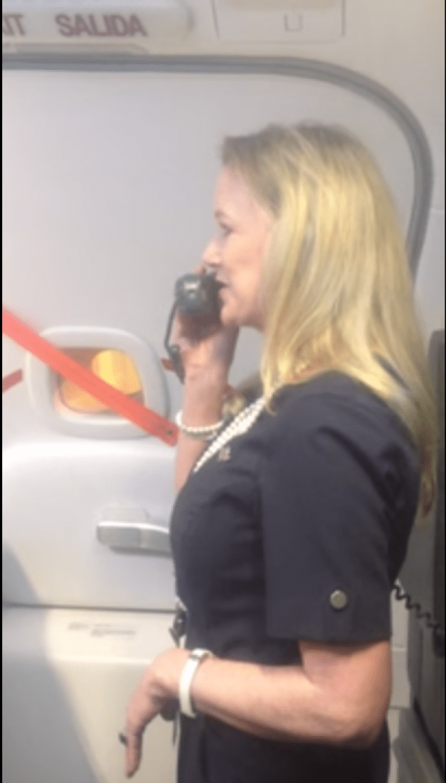 Sit back and relax...or you can sit up and be tense. (Picture: Youtube/ Marty SWA flight attendant)