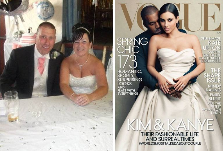 Spot the difference - Kimye could probably take some tips on cost cutting from the thrifty Taylors (Picture: Wales News Service/Vogue