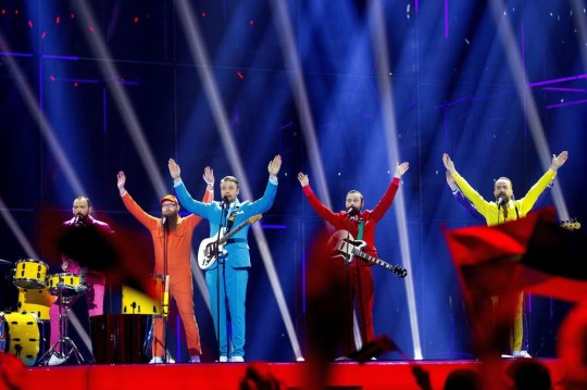 Icelandic band Pollapönk perform during the Eurovision 2014 semi-final, on May 6, 2014 in Copenhagen, Denmark. The final of the competition will be held in the Danish capital on May 10, 2014. AFP PHOTO / SCANPIX DENMARK / BAX LINDHARDT +++ DENMARK OUT +++ BAX LINDHARDT/AFP/Getty Images