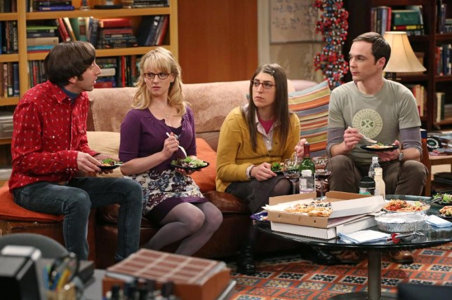 "Simon Helberg, Melissa Rauch, Mayim Bialik and Jim Parsons in a scene from ""The Big Bang Theory."" CBS reports quarterly earnings on Thursday, May 8, 2014. (AP Photo/CBS, Michael Yarish, File)"
