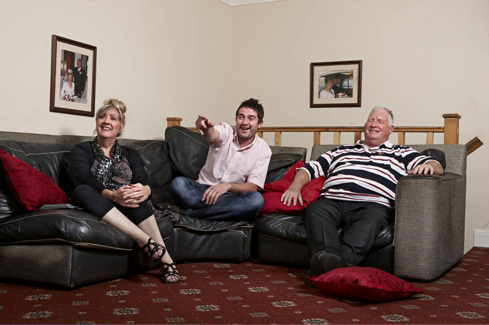 Television programme: 'Gogglebox' with Pete Gilbey and his wife Linda Gilbey, son George Gilbey.