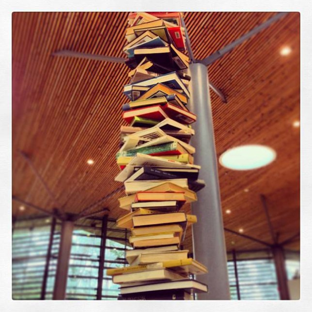 Grand design: A pile of books sent by @bojana (Picture: Instagram)