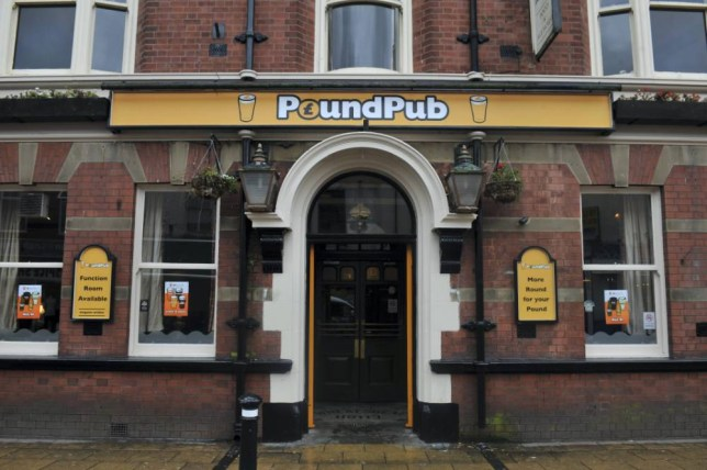 GV of the PoundPub. The first official branded PoundPub has launched in Atherton, in Wigan, Greater Manchester. The pub which used to be the Old Isaacs offers half a pint of lager for £1 and a pint for £1.50, in a move to build on the growing success of no-frills retailers such as Poundland. David Sutton, landlord of the PoundPub his establishment is doing no harm as punters are lapping up the drinks with an attitude of, ëthe cheaper, the betterí. The pub has been serving pints of Fosters, Theakstons, Strongbow and John Smiths for just £1.50 ñ with half pints costing £1 after being chosen as a trial spot for the idea of creating a pub completely back to basics. While the PoundPub is keeping customers happy with its cheery offers and 9am opening time, it doesnít offer entertainment or show Sky Sports in an effort to keep costs low and if it is a success it will be rolled out to other pubs.