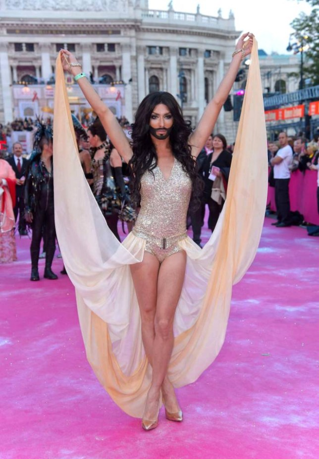 25.MAY.2013 - VIENNA - AUSTRIA ** STOCK IMAGES ** EUROVISION SONG CONTEST WINNER TOM NEUWIRTH, BETTER KNOWN AS THE DRAG PERSONA CONCHITA WURST AT THE LIFEBALL CHARITY IN VIENNA BYLINE MUST READ:  XPOSUREPHOTOS.COM **NOT AVAILABLE FOR AUSTRIA** ***UK CLIENTS - PICTURES CONTAINING CHILDREN PLEASE PIXELATE FACE PRIOR TO PUBLICATION *** **UK AND USA CLIENTS MUST CALL PRIOR TO TV OR ONLINE USAGE PLEASE TELEPHONE 0208 344 2007*