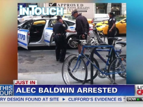 Pictured: Moment Alec Baldwin was arrested for riding his bike wrong way down street in New York City