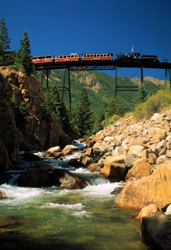 Georgetown loop railroad over devils gate high bridge state of colorado usa