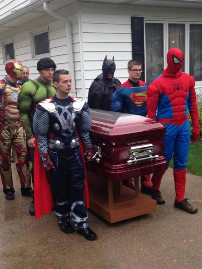 Six superheroes serve as pallbearers for funeral of 5-year-old boy who died of cancern