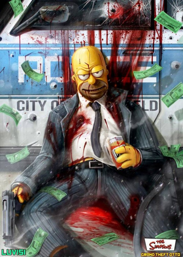 Dead Homer Simpson And A Twisted Cookie Monster The Evil Images