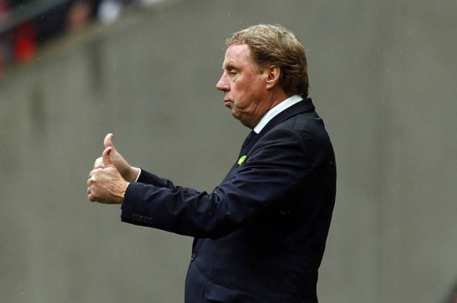 Queens Park Ranger's manager Harry Redknapp reacts during their Championship play-off final soccer match against Derby County at Wembley Stadium in London May 24, 2014. REUTERS/Eddie Keogh (BRITAIN - Tags: SPORT SOCCER). FOR EDITORIAL USE ONLY. NOT FOR SALE FOR MARKETING OR ADVERTISING CAMPAIGNS. EDITORIAL USE ONLY. NO USE WITH UNAUTHORIZED AUDIO, VIDEO, DATA, FIXTURE LISTS, CLUB/LEAGUE LOGOS OR 'LIVE' SERVICES. ONLINE IN-MATCH USE LIMITED TO 45 IMAGES, NO VIDEO EMULATION. NO USE IN BETTING, GAMES OR SINGLE CLUB/LEAGUE/PLAYER PUBLICATIONS