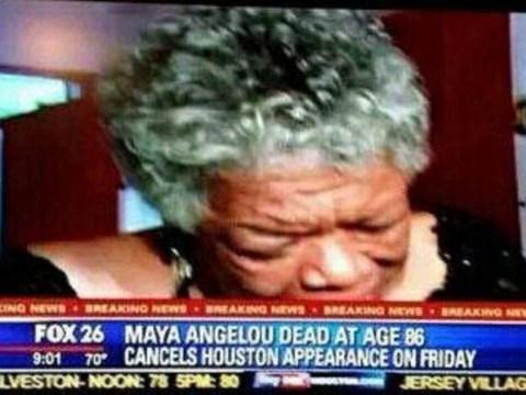 'Maya Angelou dead, cancels appearance', Fox News reports