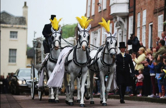 LITCHFIELD, ENGLAND - MAY 29:  The funeral cortege of Stephen Sutton makes its way to Lichfield Cathedral as people attend a vigil in celebration of the life of the teenage fundraiser on May 29, 2014 in Lichfield, England. Stephen, aged 19, from Burntwood, Staffordshire, raised more than GBP 4 million for The Teenage Cancer Trust. Stephen died of colorectal cancer on 14 May.  (Photo by Christopher Furlong/Getty Images)