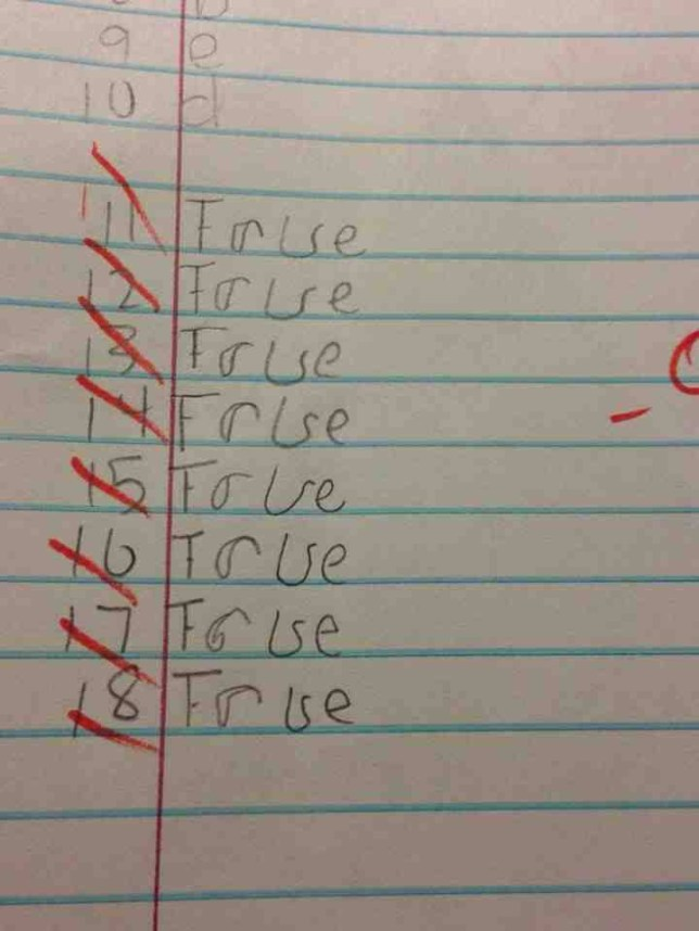 True or false quiz answers: Imgur exam paper picture shows