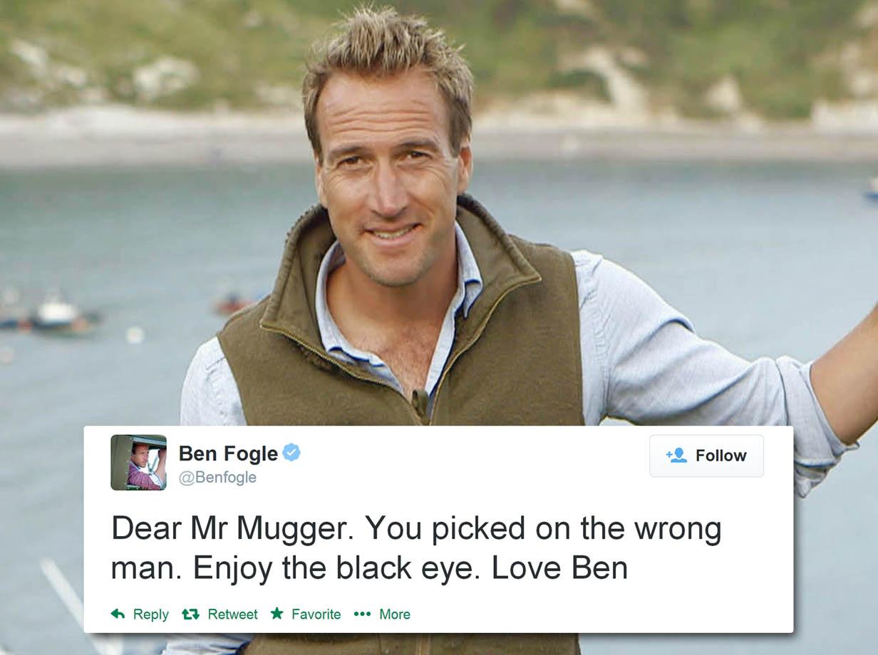 'You picked on the wrong man': Ben Fogle mocks mugger on Twitter after 'giving him black eye'