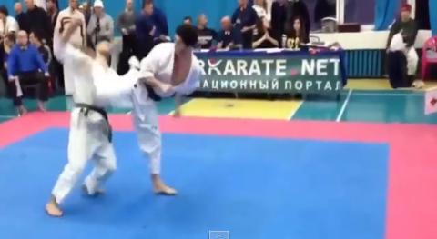Brutal spinning back kick KO ends karate match in three seconds