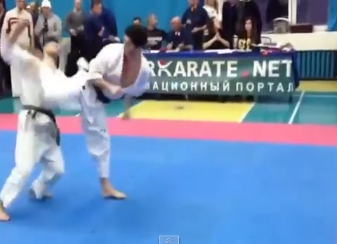 Brutal spinning back kick KO ends karate match in three seconds