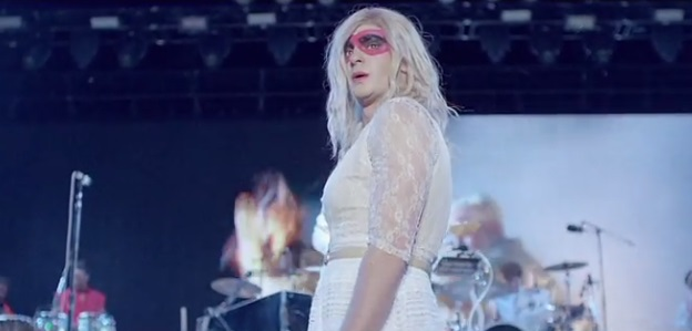 Andrew Garfield dresses up as a woman in Arcade Fire's music video for We Exist