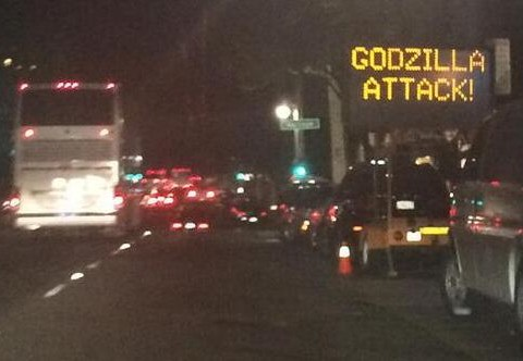 Godzilla is coming according to this road sign