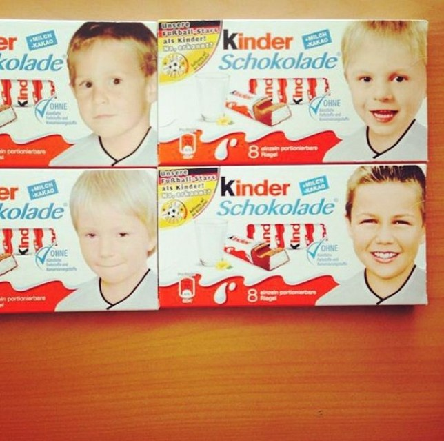 Toni Kroos (top right) and Mario Gotze (bottom right) were child Kinder stars (Picture: Instagram/gotzemario)