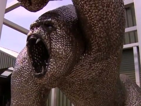 Uri Geller's 12ft gorilla spoon statue finally unveiled