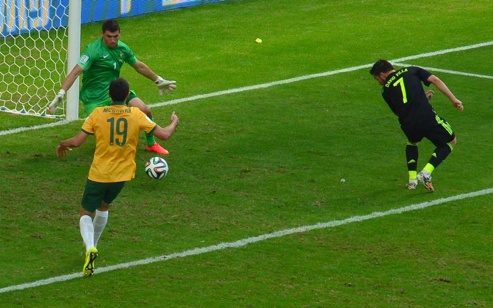 Tekkers! David Villa restores Spanish pride with slick finish against Australia