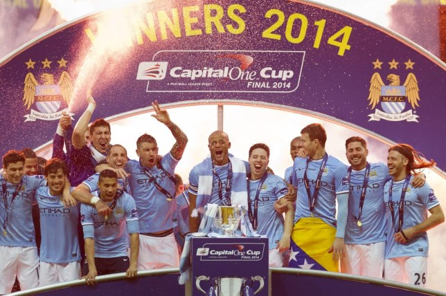 Manchester City players celebrate after their 3-1 win against Sunderland in the League Cup Final at Wembley Stadium, London, England, Sunday March 2, 2014. (AP Photo/Jon Super) AP Photo/Jon Super