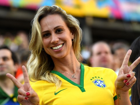 Brazil nuts: Brazil fans at the opening of Brazil World Cup finals 2014