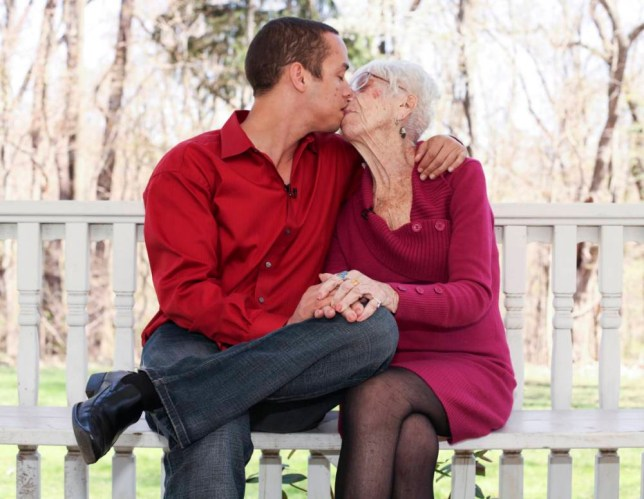 ***EXCLUSIVE*** PITTSBURGH, PENNSYLVANIA - APRIL 26: Kyle Jones, 31 poses for a picture with Marjorie McCool, 91 at a local park in Pittsburgh, Pennsylvania. SELF-STYLED cougar hunter Kyle Jones says he has never dated a woman his own age - preferring the attention of pensioners. The 31-year-old from Florida is only attracted to elderly women and prefers them 65 or older.  PHOTOGRAPH BY Laurentiu Garofeanu / Barcroft USA UK Office, London. T +44 845 370 2233 W www.barcroftmedia.com USA Office, New York City. T +1 212 796 2458 W www.barcroftusa.com Indian Office, Delhi. T +91 11 4053 2429 W www.barcroftindia.com