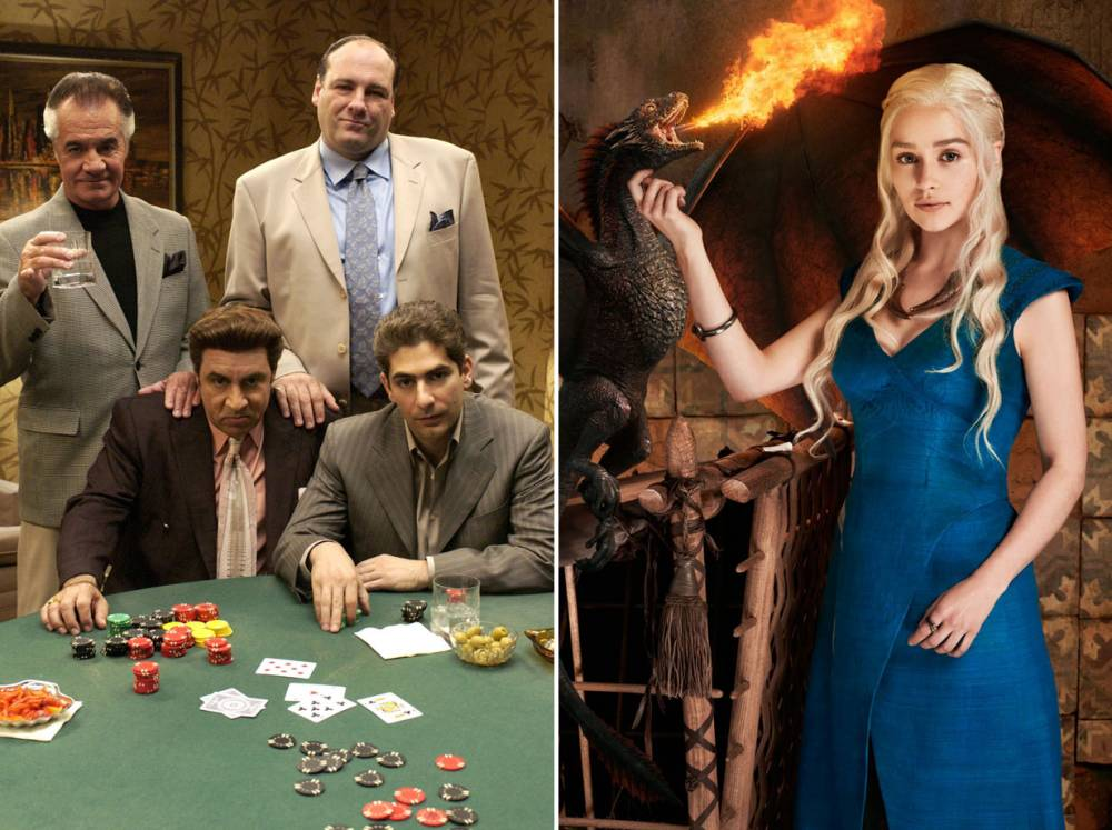 """TV: THE SOPRANOS.  (L-R) Tony Sirico, James Gandolfini (1961-2013), and seated Steven Van Zandt and Michael Imperioli are shown in a scene from the new season of the drama television series """"The Sopranos"""" on HBO, in this undated publicity photograph, March 6, 2004. The new season premieres March 7. NO SALES   REUTERS/Abbot Genser/HBO/Handout"""