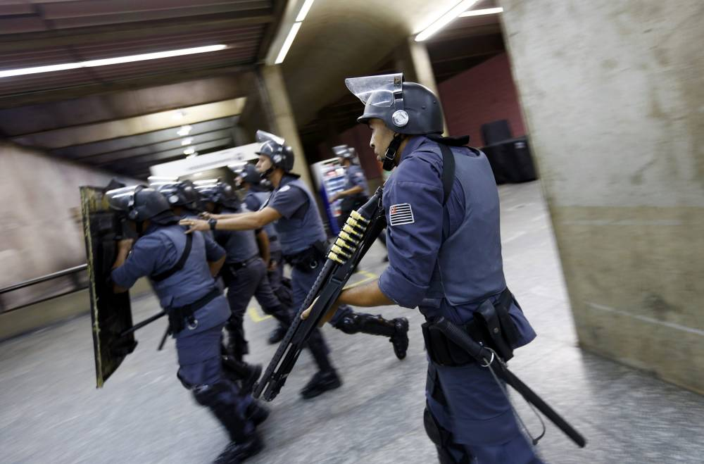 In pictures: Sao Paulo metro workers continue to strike just THREE days ahead of World Cup opener