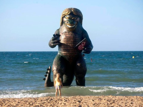 There's a giant Richard Branson sea monster statue on Bournemouth beach
