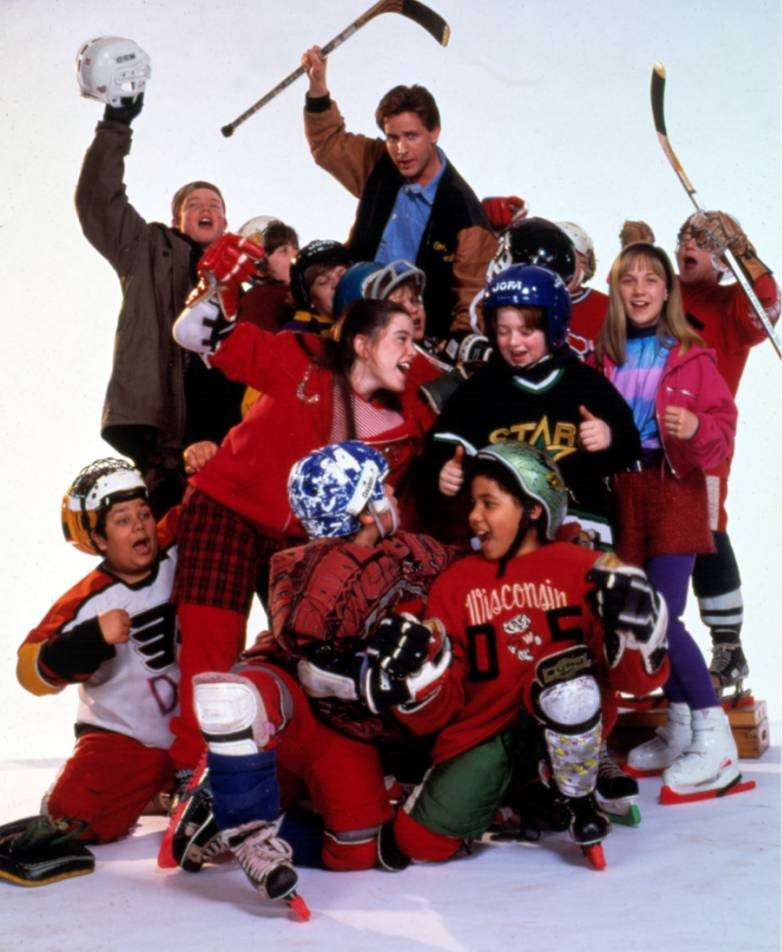 No Merchandising. Editorial Use Only. No Book Cover Usage.. Mandatory Credit: Photo by c.W.Disney/Everett/REX (919441b).. 'The Mighty Ducks' - Emilio Estevez (Center Top), 1992.. The Mighty Ducks - 1992.. ..