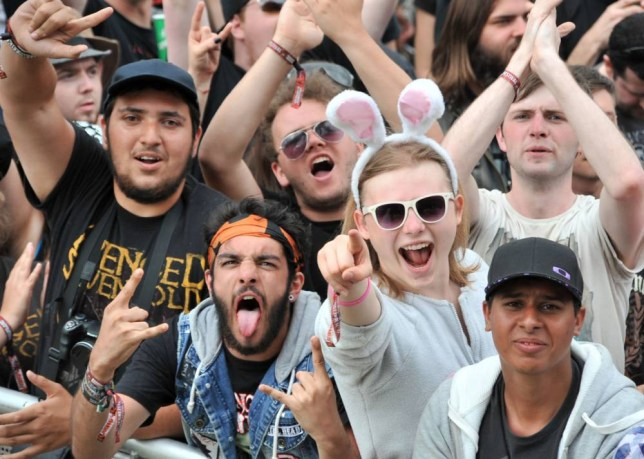 Rock fans at Download Festival in Donington Park