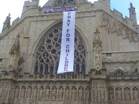 Protesters climb Exeter Cathedral over treatment of fathers in custody battles