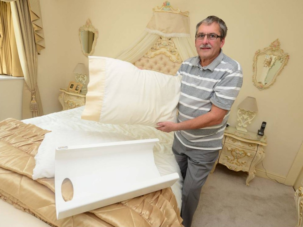 BPM MEDIA Pictured David Northcote, 68 from Hollywood, Birmingham who is the inventor of the Zoox easy fit pillow that helps you get pillows onto the cases and has spent £55.000 developing the product.