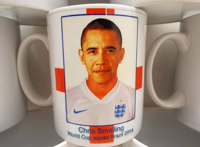 "Mandatory Credit: Photo by REX (3857160a)  Barack Obama mistaken for England defender Chris Smalling  Red Card: Barack Obama Mistaken for England Player on Souvenir Mug  Maybe the Leader of the Free World might have improved our chances?    A bumbling souvenir company deserve a red card - after mistaking Barack Obama for England player Chris Smalling on a memento mug.    The unnamed company - they're embarrassed - were keen to go top of the league with a range of merchandise for the World Cup.    But when they unpacked the 2,000 mugs featuring the faces of our brave - and underperforming - heroes, it was clear someone's footballing research skills were strictly non-league.    They turned to Dorset-based expert clearance resellers Wholesale Clearance UK to try and shift the stock that could have easily appeared in an Only Fools and Horses episode.    Karl Baxter MD for Wholesale Clearance says the company contacted him with the hope of off-loading the stock.    He now believes a junior member of staff could be facing demotion after being trusted with picture research.    Karl explains: ""The Dorset company in question (whose blushes we shall protect for now....maybe!) was given the seemingly easy job of sourcing royalty free pictures of each England squad player to use on the England mugs - along with other accompanying items such as England coasters, England mouse mats etc.    ""They passed this onto to their young, bright eyed and bushy tailed new apprentice. The designs were proofed and signed off by their Boss, who had clearly had a heavy night with the lads playing poker and before he'd had his first vat of coffee the following morning.    ""They immediately contacted us and 2,000 of the England items was dispatched to our warehouse. We eagerly unpacked them and, indeedm it turned out that the Chris Smalling cup had Barack Obama's head on instead of Chris's.""    Wholesale Clearance is now...  For more information visit http://www.rexfeatures.com/stacklink/BQISITBXW"