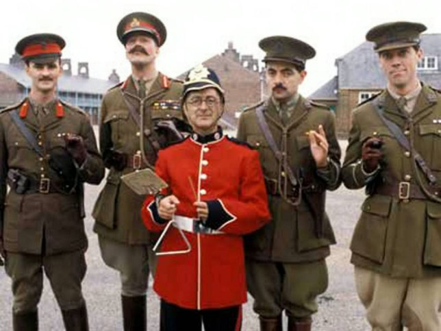 "**EMBARGOED UNTIL 12.01AM ON WED 25 JUNE** Web Grab - Blackadder Goes Forth (1989) (L-R) -Captain Kevin Darling (Tim McInnery), General Melchett (Stephen Fry), Private Baldrick (Tony Robinson), Captain Blackadder (Rowan Atkinson), and Lieutenant George (Hugh Laurie). Captain Blackadder, Lieutenant George and Private Baldrick really did go forth in World War One after it emerged the comedy characters had real-life namesakes.  See NTI story NTIBLACKADDER.  The popular BBC series ran from 1983 until 1989 and ended its run in the trenches with the gang going over the top for ""one last hurrah"".  Earlier this year, the education secretary Michael Gove criticised the Blackadder series for spreading myths about World War One.  But now it has emerged that the characters - invented by Richard Curtis and Rowan Atkinson - really did exist.  To mark the centenary of the Great War, a specialist military genealogy website has tracked down the real life counterparts of Captain Blackadder and his pals.  Forces War Records delved back through a staggering six million military records to reveal the stories of Captain Robert John Blackadder, Private James Baldrick, Captain John Clive Darling and Lieutenant Athelstan Key Durance George."