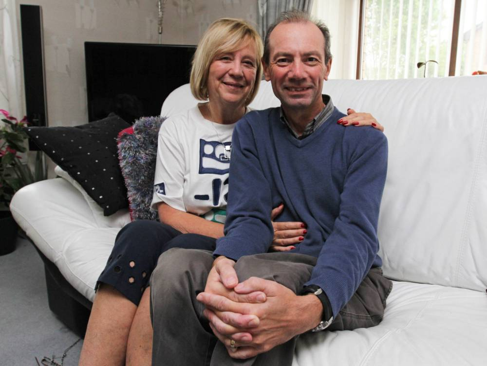 FROM JOHN JEFFAY AT CASCADE NEWS LTD    0161 660 8087 /  07771 957773  john@cascadenews.co.uk.. CASCADE NEWS FOR SUNDAY POST.. .. Pic shows:Tom with wife Fiona... .. A man¿s battle against a killer cancer has been boosted by a revolutionary treatment which electrocuted his tumour with a massive 3000 volt shock... Former engineer Tom Cumming, 59, was told all options for beating his pancreatic cancer had been exhausted and he was advised to make the most of the short time he had left... But after researching alternative treatments he discovered the new experimental electro-treatment ¿ called NanoKnife ¿ which resulted in him having a 3,000-volt current zipped through his tumour.