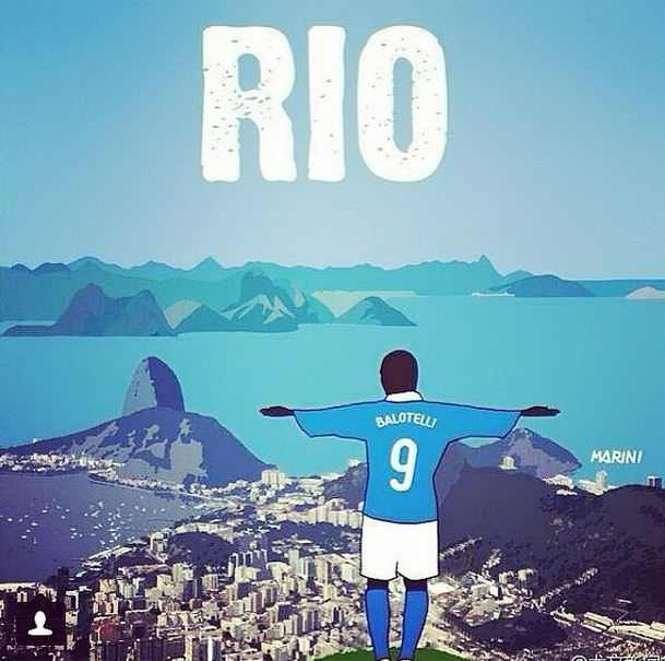 Modest Mario Balotelli posts picture of himself as Rio's Christ the Redeemer ahead of Brazil World Cup